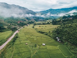 Beautiful aerial view of rice paddy field in Sapan village a small village nestled in a forested northern valley of pure air and pristine rivers in Nan province of Thailand.