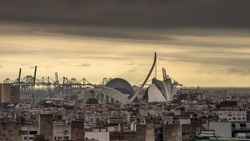 Beautiful aerial view of the center of Valencia, Spain, at sunset
