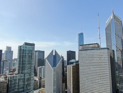 Beautiful aerial view of the Chicago Buildings