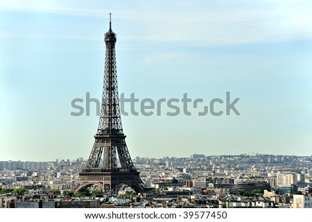 Beautiful aerial view of the Eiffel Tower in Paris