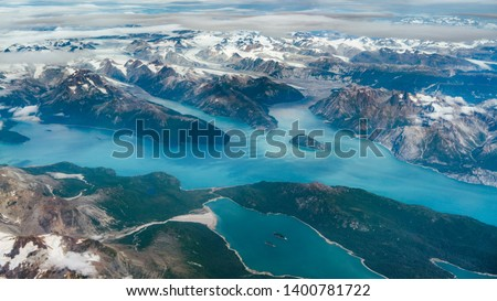 Beautiful aerial view of the fjords while flying from Anchorage to Juneau in Alaska, USA Stock fotó ©