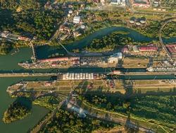 Beautiful aerial view of the Miraflores Locks in Panama