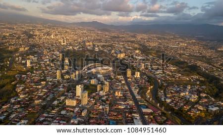 Beautiful aerial view of the Sabana, San Jose, Costa Rica