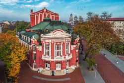 Beautiful Aerial view of Theatre in Varna City Center, Bulgaria.