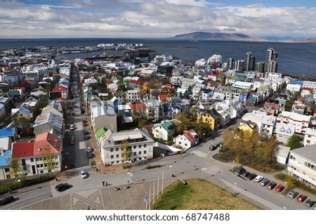 Beautiful aerial view to Reykjavik downtown from church, capital of Iceland