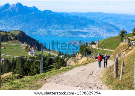 beautiful aerial view Travel up Rigi mountain of the Pilatus above the clouds from top of Rigi mountain in Lucerne, Switzerland Stock fotó ©