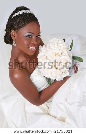 Beautiful African American Bride Portrait Sitting on Gray Background