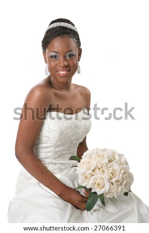 Beautiful African American Bride Portrait Sitting on White Background