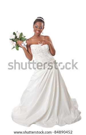 Beautiful African American Bride Portrait Standing on White Background