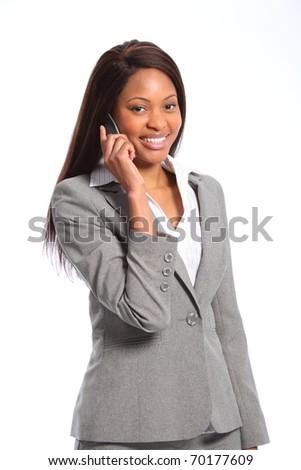 Beautiful african american business woman on telephone