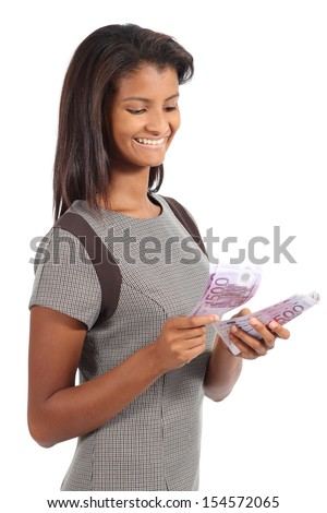 Beautiful african american businesswoman counting money isolated on a white background
