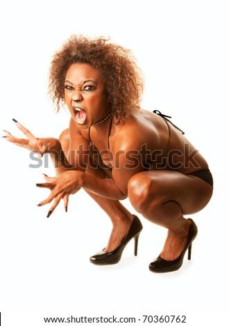 Beautiful African-American Cat Woman Crouching in Bikini and High Heels