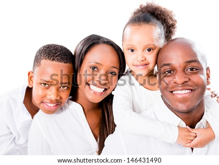 Beautiful African American family - isolated over a white background
