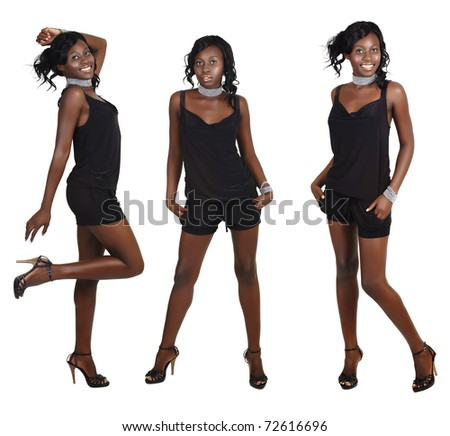 beautiful African American model with fit slim body wearing short playsuit and pearl accessories on white background in three different poses