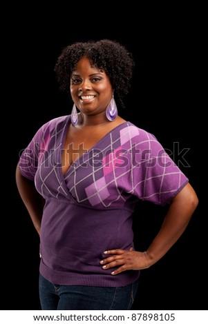Beautiful African American Plus Size Female Fashion Model Headshot Portrait on Black background
