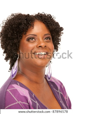 Beautiful African American Plus Size Female Model Headshot Isolated on White Background - stock photo