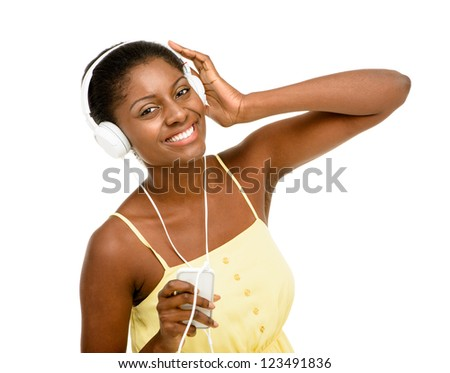 Beautiful African American Woman dancing yellow dress isolated on white background