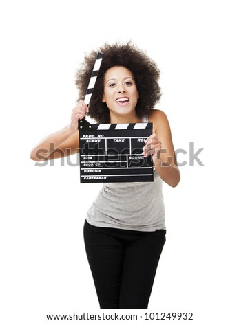 Beautiful african american woman holding a clapboard, isolated on white