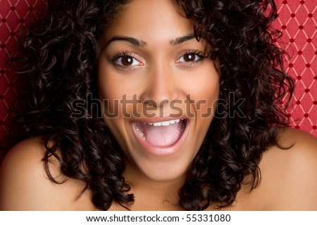 Beautiful african american woman laughing
