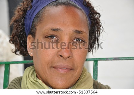 Beautiful African American Woman Looking at you - stock photo