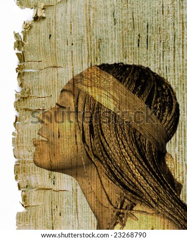 Beautiful African American woman on retro old sepia texture