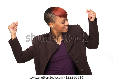 Beautiful African American woman snapping her fingers. She is dancing and enjoying music. Horizontal image Isolated on white background