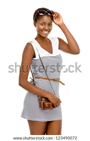 Beautiful African American woman vintage dress isolated on white background