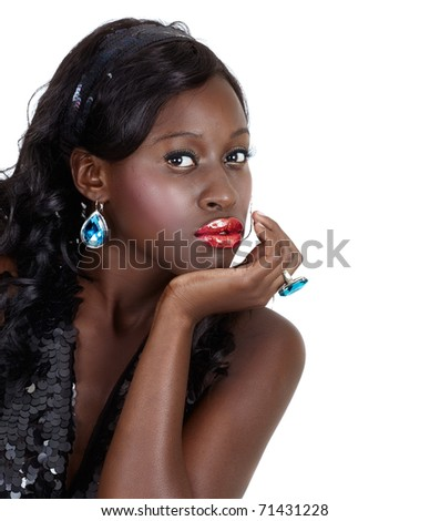 beautiful African American woman with bright fashion make-up and long curly hair wearing sequin top and headband with space for text over white background