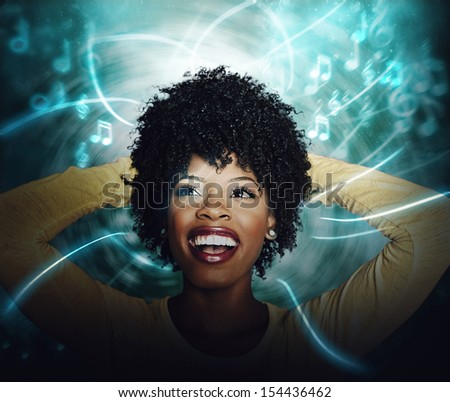 American young woman listening to online streaming music stock photo