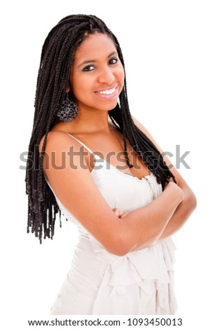 Beautiful african descent with dreadlocks and arms crossed. Isolated.