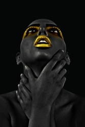 Beautiful African women with a fantastic Golden Lips on black background. decoration and interior, canvas art, abstract.