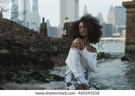 beautiful afro american girl in ...