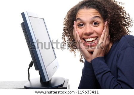 Beautiful afro woman and her computer