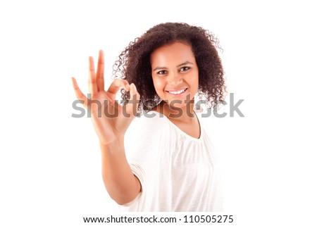Beautiful afro woman doing ok sign