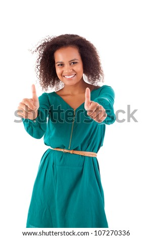 Beautiful afro  woman showing thumbs up