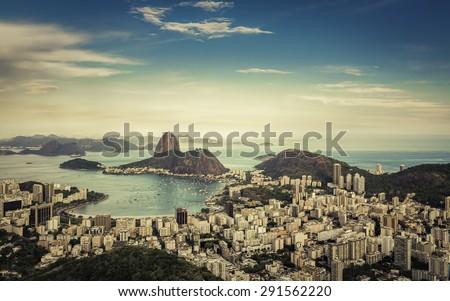 Beautiful afternoon skyline view of Rio de Janeiro, Brazil