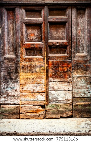 beautiful aged wooden doorway...