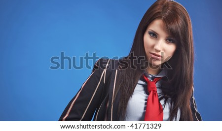 beautiful air hostess isolated on one colour background