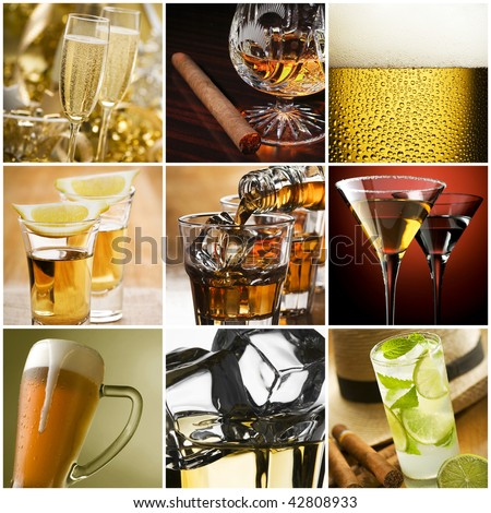 Beautiful alcohol collage made from nine photos