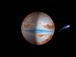 beautiful alien planet with comet, planet with satellite 3d illustration