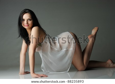 Beautiful alluring young woman in sexy lingerie