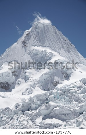 Beautiful Alpamayo peak in the Cordillera Blanca,Peru