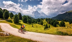 Beautiful alpine countryside. Awesome Alpine highlands in sunny day. Amazing Nature Scenery of Dolomites Alps. Epic Scene in the mountains place. Active recreation concept
