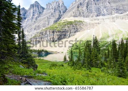 Beautiful alpine lake in Glacier National Park Montana