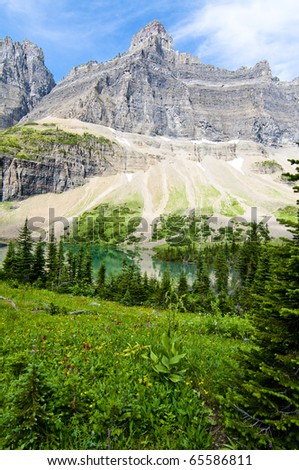 Beautiful alpine lake in Glacier National Park Montana