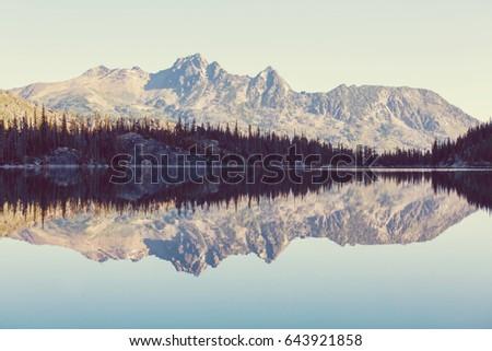 Beautiful Alpine lakes wilderness area  in Washington, USA #643921858