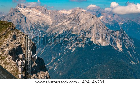 Beautiful alpine view at the famous Karwendel summit with the Zugspitze summit in the background near Mittenwald, Bavaria, Germany #1494146231