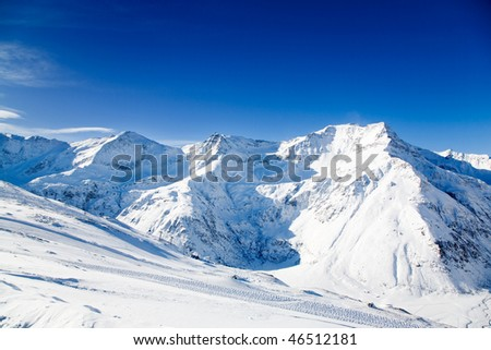Beautiful alps landscape in sunny winter day