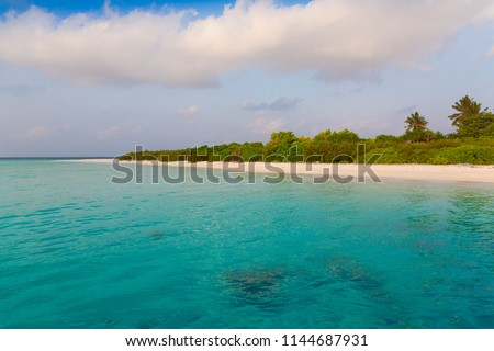 Beautiful amazing nature landscape. Tropical blue Maldives sea. Luxury holiday resort. Island atoll and coral reef. Travel eco paradise. Great panorama view. Inspiring summer.  #1144687931