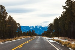 Beautiful America. Freeway leading towards snow covered Sanfrancisco Peak, in Flagstaff, Northern Arizona. Winter Travel. Lenticular cloud in the sky. Pine trees by the road sides, snow on road.